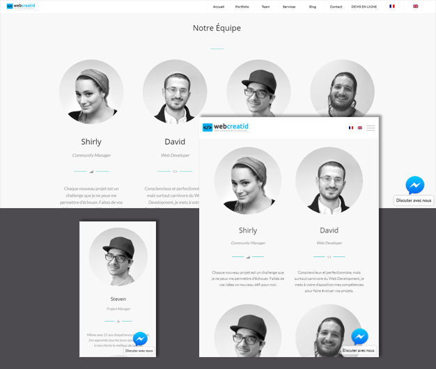 Webcreatid est un site responsive. Sur la version bureau, le contenu a été formaté sur 4 colonnes