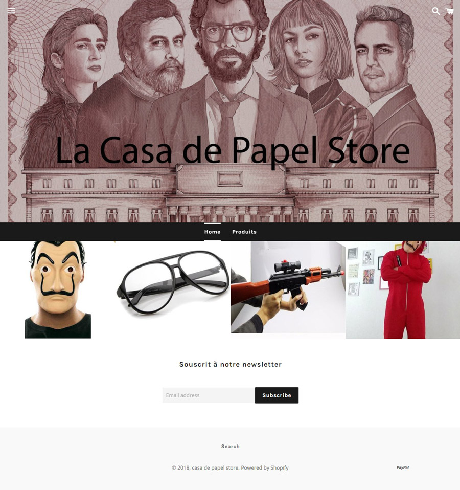 Screenshot du Site Casadepapel.fr